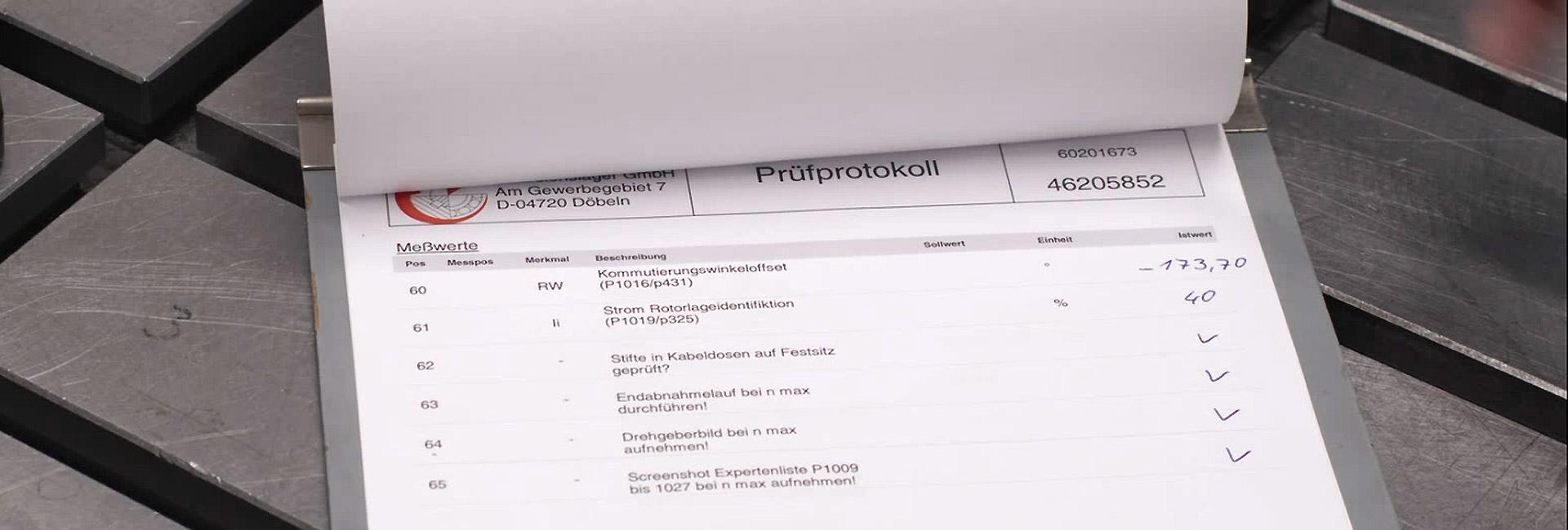Prüfprotokoll | SPL Spindel und Präszisionslager GmbH